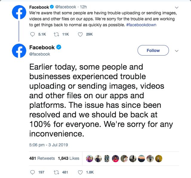 facebook down reason