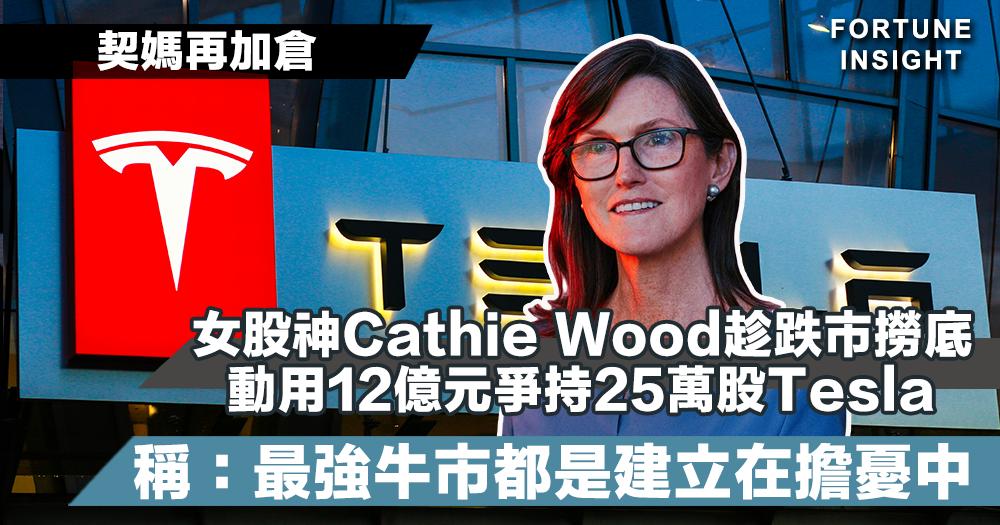 【契媽再加倉】女股神Cathie Wood趁跌市撈底 動用12億元爭持25萬股Tesla 稱:最強牛市都是建立在擔憂中